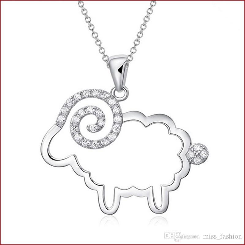 925 itens de prata esterlina jóias declaração pingente colares de casamento do vintage diamante em forma de ovelha infinito encantos quentes