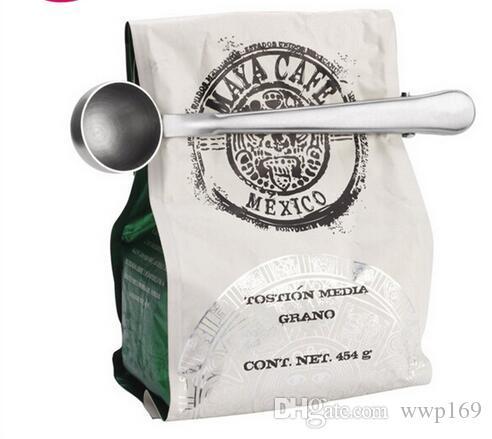 1 stück multifunktions edelstahl kaffee scoop mit clip kaffee tee messbecher 1 cup gemahlener kaffee messbecher löffel