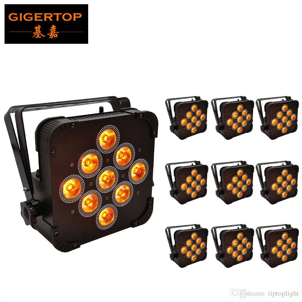 10PCS / LOT 9X15W 5IN1 اللاسلكية RGBWA شقة بقيادة أضواء الاسمية بعد دعم DMX 5 / علب 9Chs اللاسلكية شقة بقيادة الاسمية المصابيح الأسود الإسكان Tyanshine