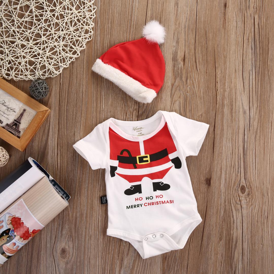 Al por mayor- Lindo bebé recién nacido Niño Mono corto Mameluco Sombrero de Santa XMAS 2pcs Trajes Set Niños Ropa de Navidad