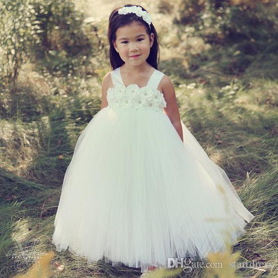 Sweet White Princess Tutu Flower Girl Dresses Spaghetti Floor Length Girls 2017 Pageant Dresses Cheap Tulle 4T 6T Flower Girl Toddler Dress