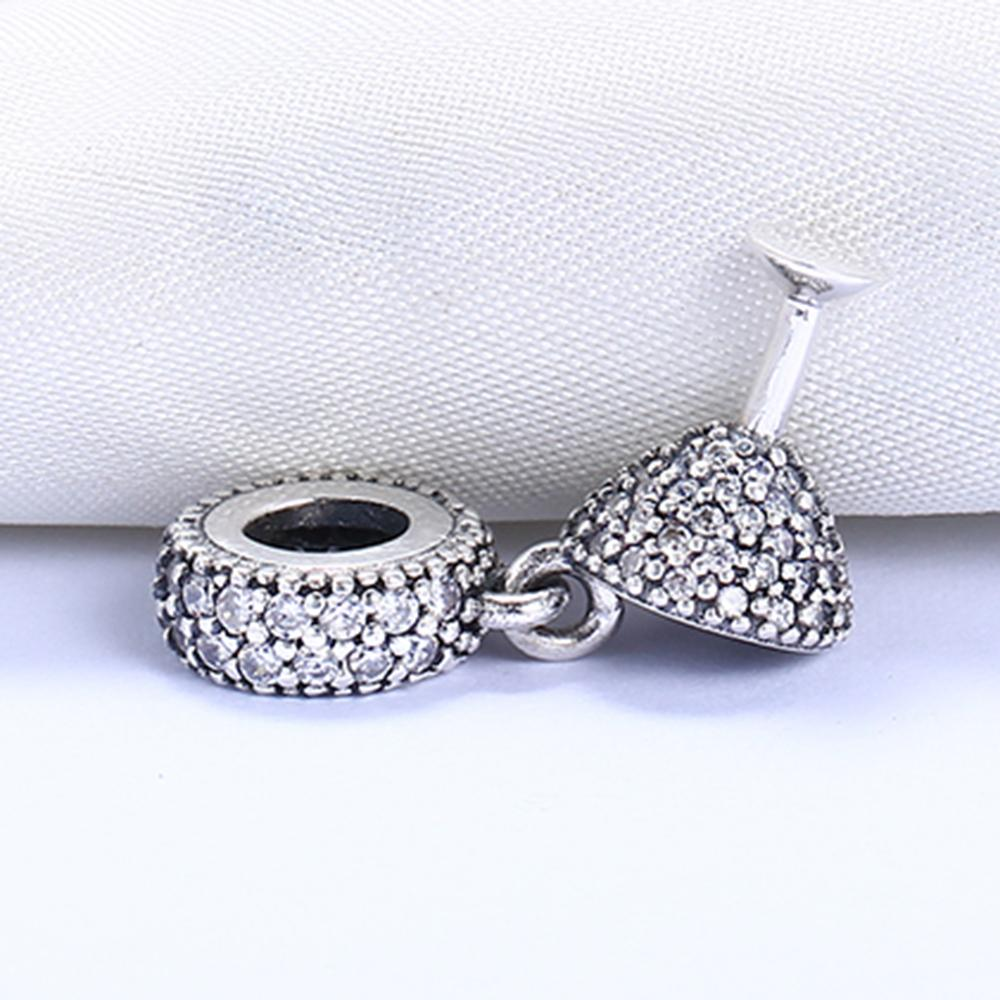 Réel 925 En Argent Sterling Non Plaqué Pendentif En Verre De Vin Charme Charme Européen Charmes Perles Fit Pandora Chaîne Bracelet DIY Bijoux