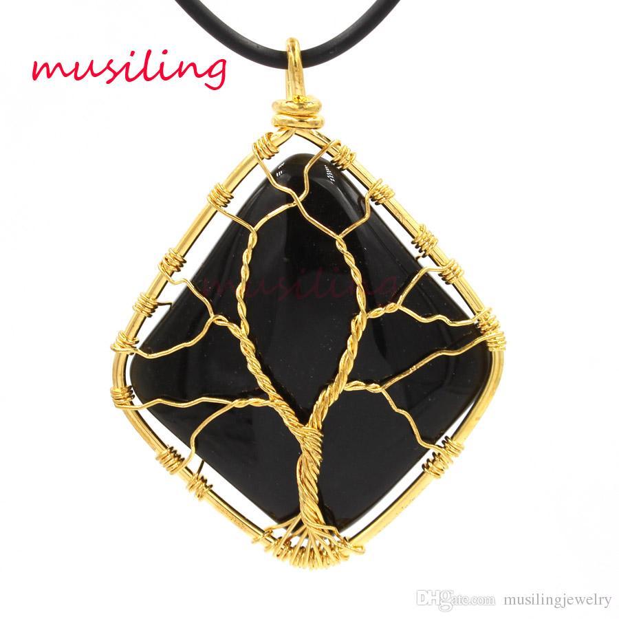 Pendenti in oro con pendenti in ossidiana Gioielli pendenti con pendenti in oro con pietre preziose Wicca Healing Chakra Amuleto Gioielli in pietra naturale per uomo