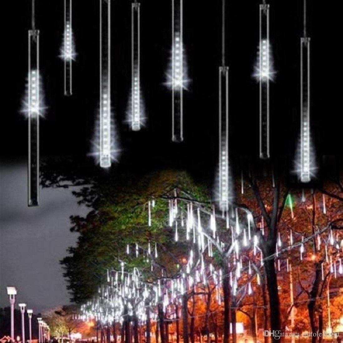 LED 스트링 화이트 유성 샤워 비 조명, 힌크 눈이 떨어지는 빗방울 30cm 8 튜브 웨딩 크리스마스 홈 장식을위한 방수 캐스케이션 조명