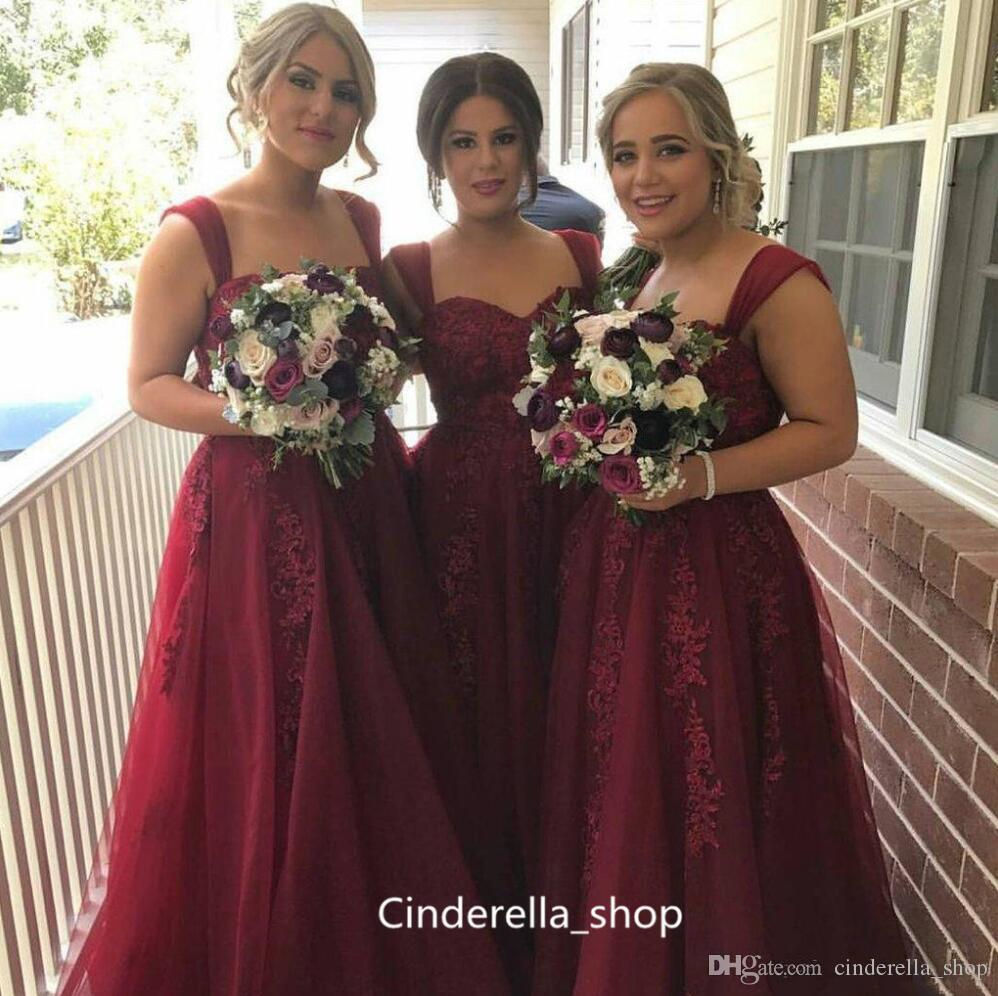 Modest Wine Red Lace Bridesmaid Dresses Plus Size Floor Length Square  Arabic Wedding Guest Dresses High Waist Maid Of Honor Gowns Cheap Sale  Chiffon ...