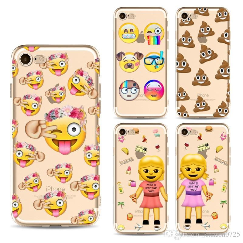 For iPhone X Cute Emoji Cartoon TPU Painted phone Cases Soft Silicone Back Cover Shell For iphone 5S 6S 7 8 Plus Samsung Galaxy S8 S9 Note 8