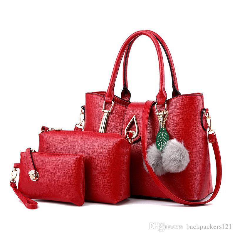 Bolsos de las mujeres mensajero de la PU bolsos de las señoras famoso bolso 3 PC / sistema de hombro bolsa de regalos de Navidad Compuesto