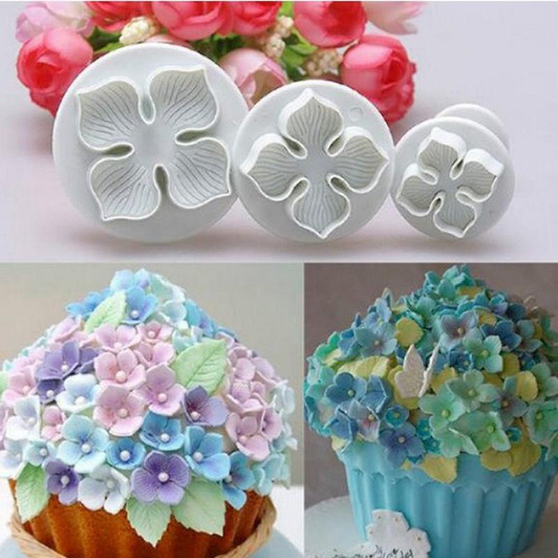 3 Unids / set Hydrangea Fondant Cake Decorating SugarCraft Plunger Cutter Flower Mould