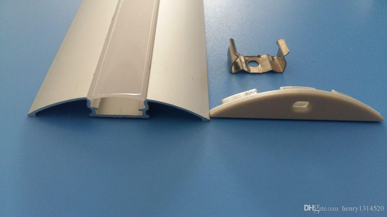 2.5m / pcs di vendita caldo libero 24pcs x 2,5 m profilo di alluminio ha condotto per la striscia principale con lattea / coperchio trasparente del 5630 12 millimetri pcb