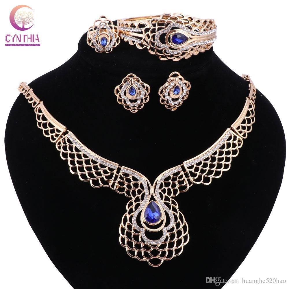 Perles africaines Parures pour les femmes Dubaï soirée de mariage de mariée Mode de luxe Accessoires Collier Pendentif Simulé
