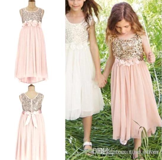 2017 Blush Pink Flower Girls Abiti per matrimoni Paillettes dorate Lunghezza del tè Tulle Gioiello A Line Beach Bambini Abiti formali Junior Vestito da damigella d'onore