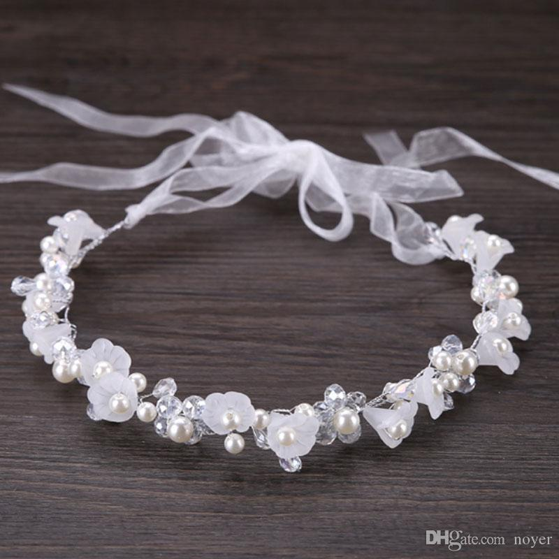 Korean handmade bridal flower headbands jewelry for women and girls white pearl rhinestone wedding hiar accessories