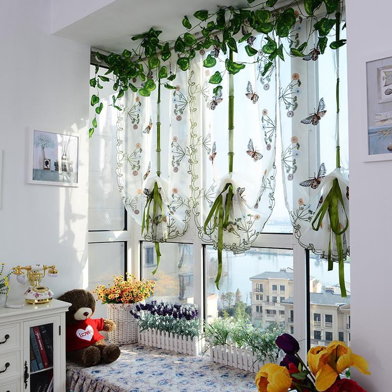 도매 Beaufitul 나비 패턴 문 로마 창 스카프 쉬어 꽃 커튼 패널 라부 아이 아기 침실 장식 무료 배송