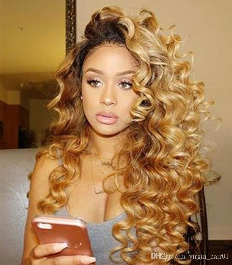 Two Tone Human Hair Bundles Ombre Loose Deep Wave Human Hair Extensions #1b 27 Ombre Brown Blonde Indian Virgin Hair Double Wefts