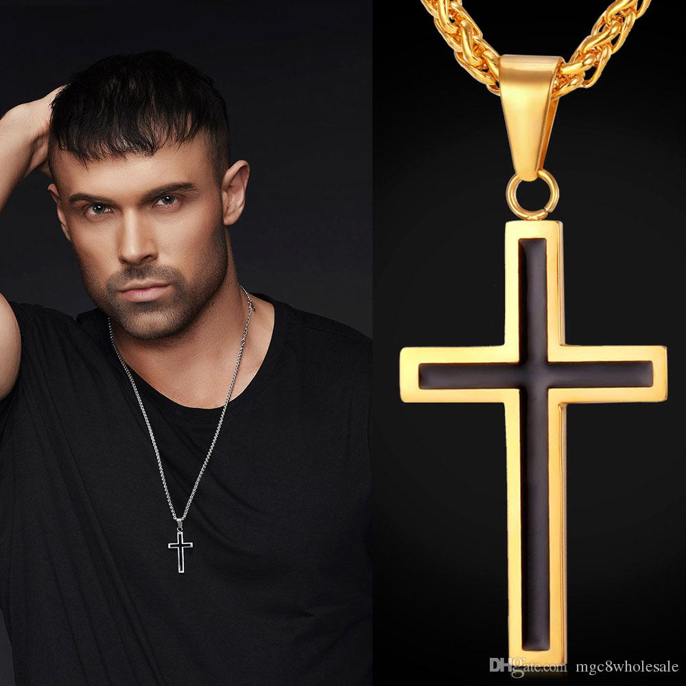 U7 Latin Christian Cross Pendants Necklaces Religious Jewelry 18K Gold Plated/Stainless Steel Fashion Cross Jewelry Perfect Gift Accessories