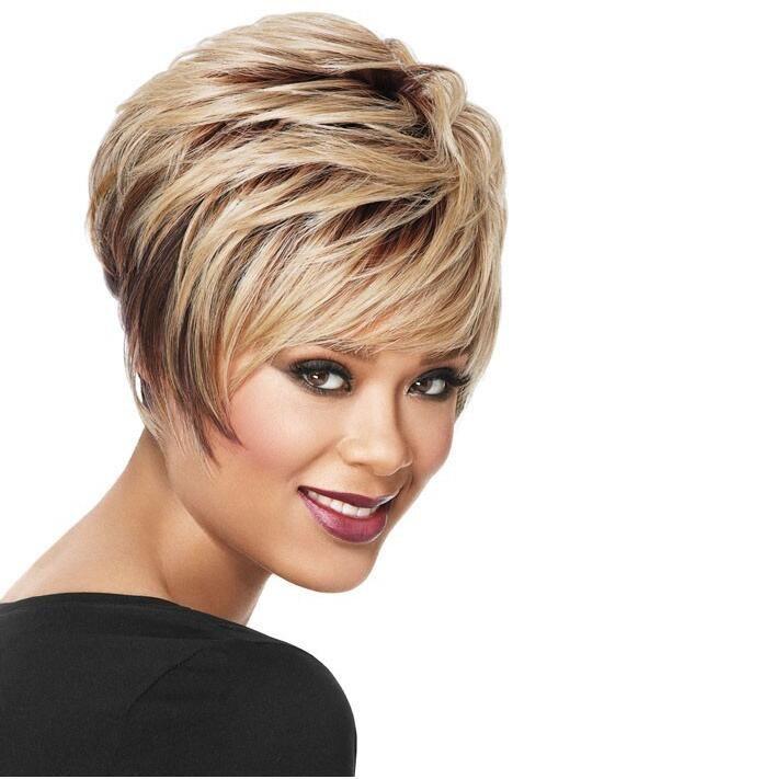Parrucca corta capelli ricci per le donne Parrucche sintetiche Cappellino per parrucche taglio di capelli Pixie moda parrucche sintetiche con frangia
