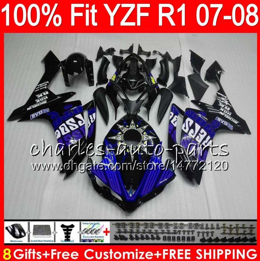 8Gifts 23 kleureninjectie voor Yamaha YZF1000 YZFR1 07 08 YZF 1000 37HM17 YZF-R1 07-08 YZF-1000 YZF R 1 YZF R1 2007 2008 Kuip