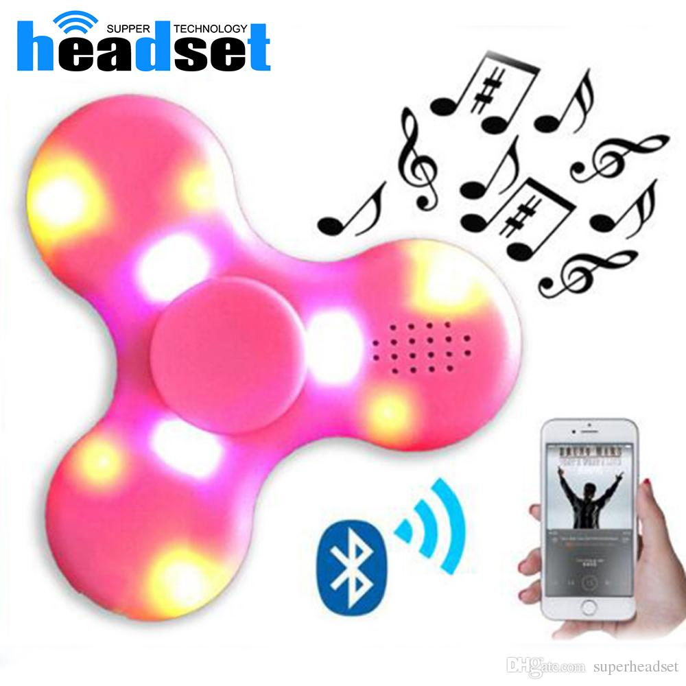 Hot spinner toy + bluetooth speaker spinner LED Flash light hand spinner tri cube Fluorescent child adult gyroscope finger with package