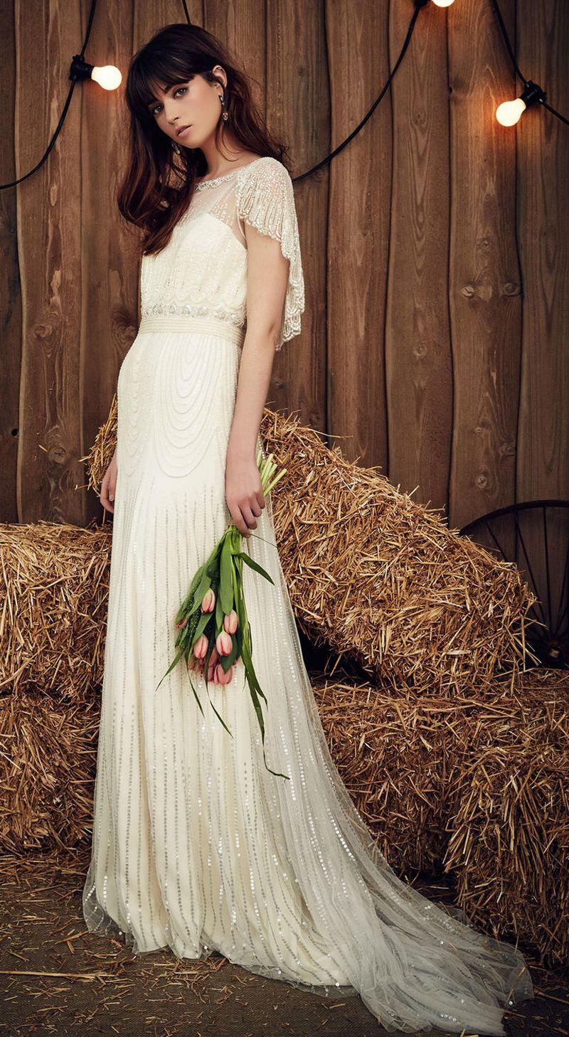Cape Sleeves Full Beaded Wedding Dresses 2017 Bridal Gown Beateau ...