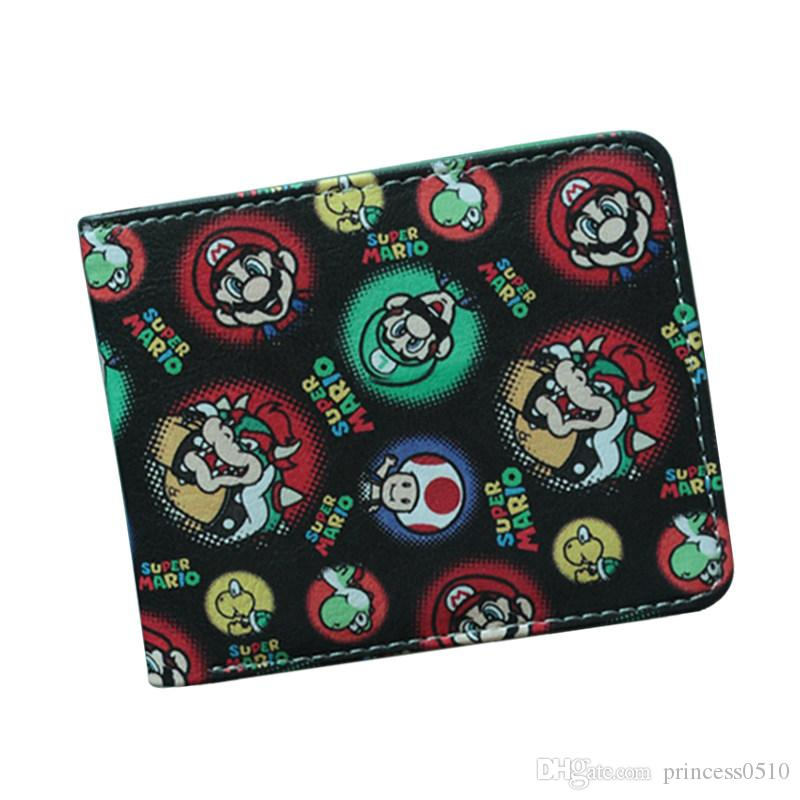 SUPER MARIO WORLD Wallets Men Bifold Cute Cartoon Comics Purse Student Short Game Wallet Coin Bag Credit Card Holder Anime Wallet For Teens