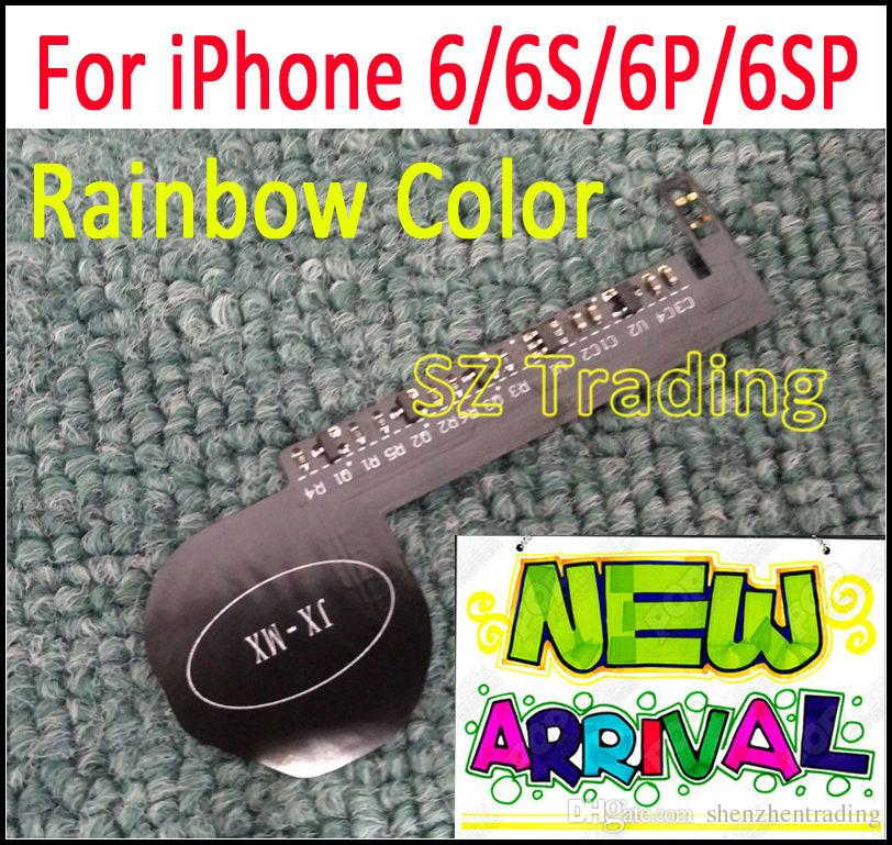 New Rainbow Color Luminescent Glowing LED Light Up Transparent Logo Mod Panel Kit For iphone 6 6S Plus 6 Plus Free Shipping
