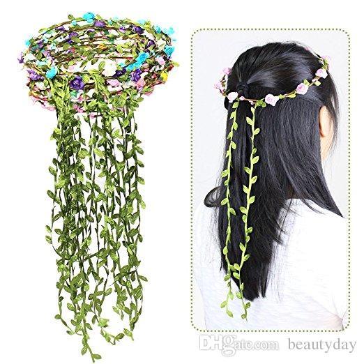 Travel Beach Leaves Rattan Colorful Wedding Garlands Bridesmaid Bridal Headband Flower Crown Bohemia Head Flower Girl Hair Accessory Cheap
