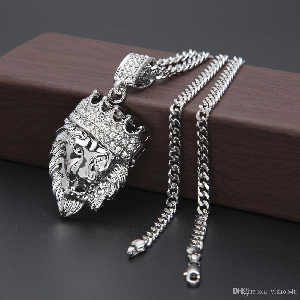 Men's Hip Hop Necklace Gold Silver Plated Lion Head CZ Crystal Crown Pendant Necklace Bling Bling Cuban Chain Necklace