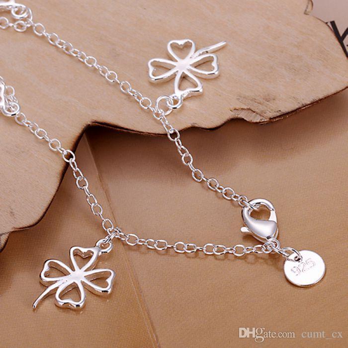925 joyería plateó la pulsera 925 joyería de la joyería Hueco de cuatro hojas del encanto pendiente del trébol pulsera envío gratis