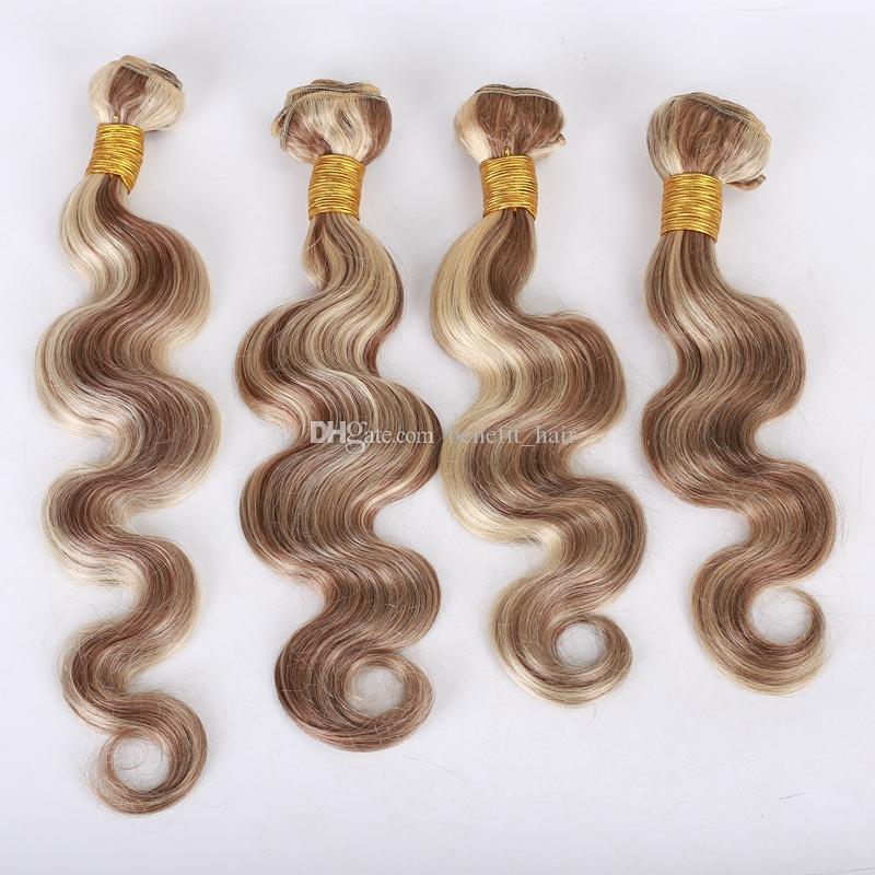 Paquetes de cabello humano de la Virgen brasileña 4 piezas Mezclar color de Piano # 8 # 613 Trama de cabello de la onda del cuerpo medio Extensiones de cabello castaño y rubio 10-30 pulgadas