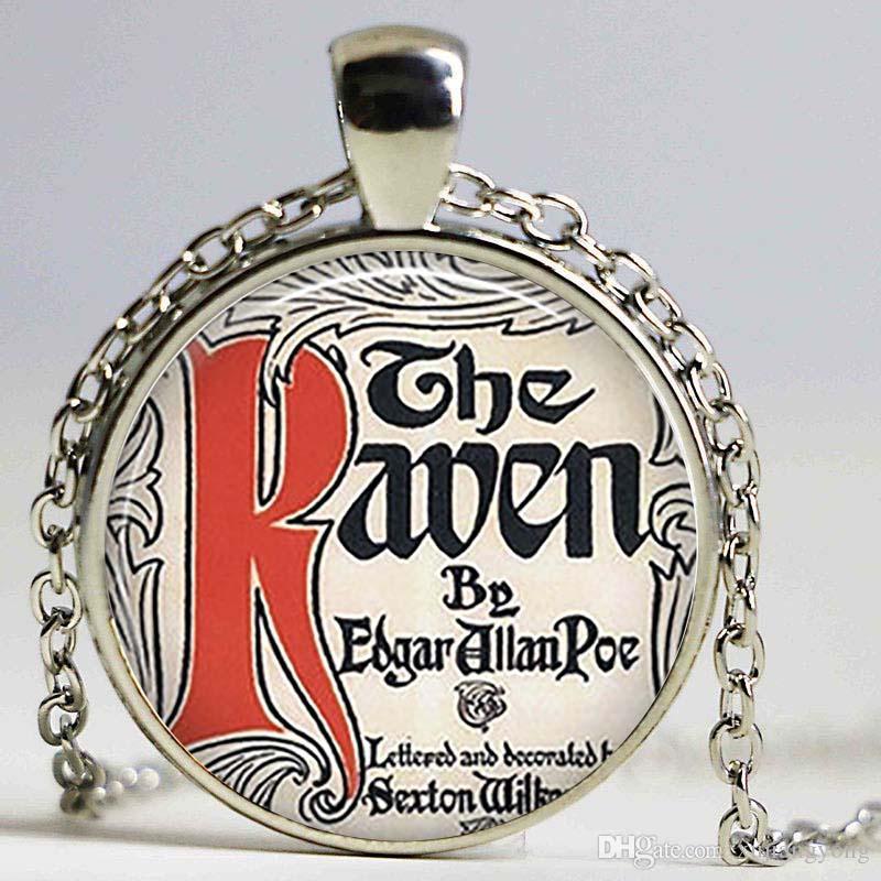 The Raven Literary Pendant Edgar Allen Poe collar Cadena colgante Cabujón de cristal joyería