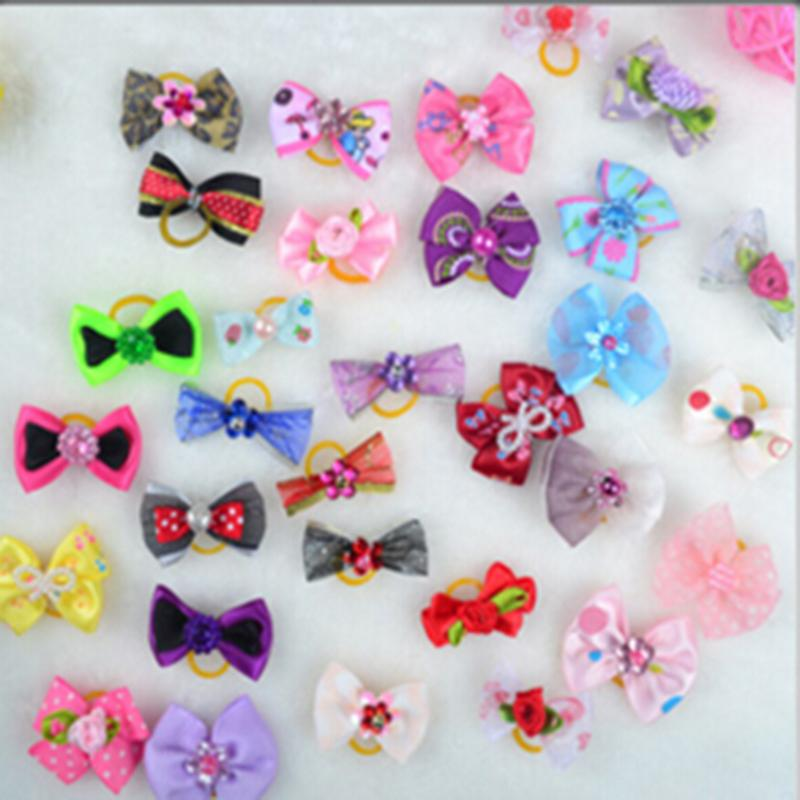 Handmade Pet Hair Accessories Pearls Style Dog Bows Pet Hair Bows Dog Hair Accessories Grooming Products Cute Gift