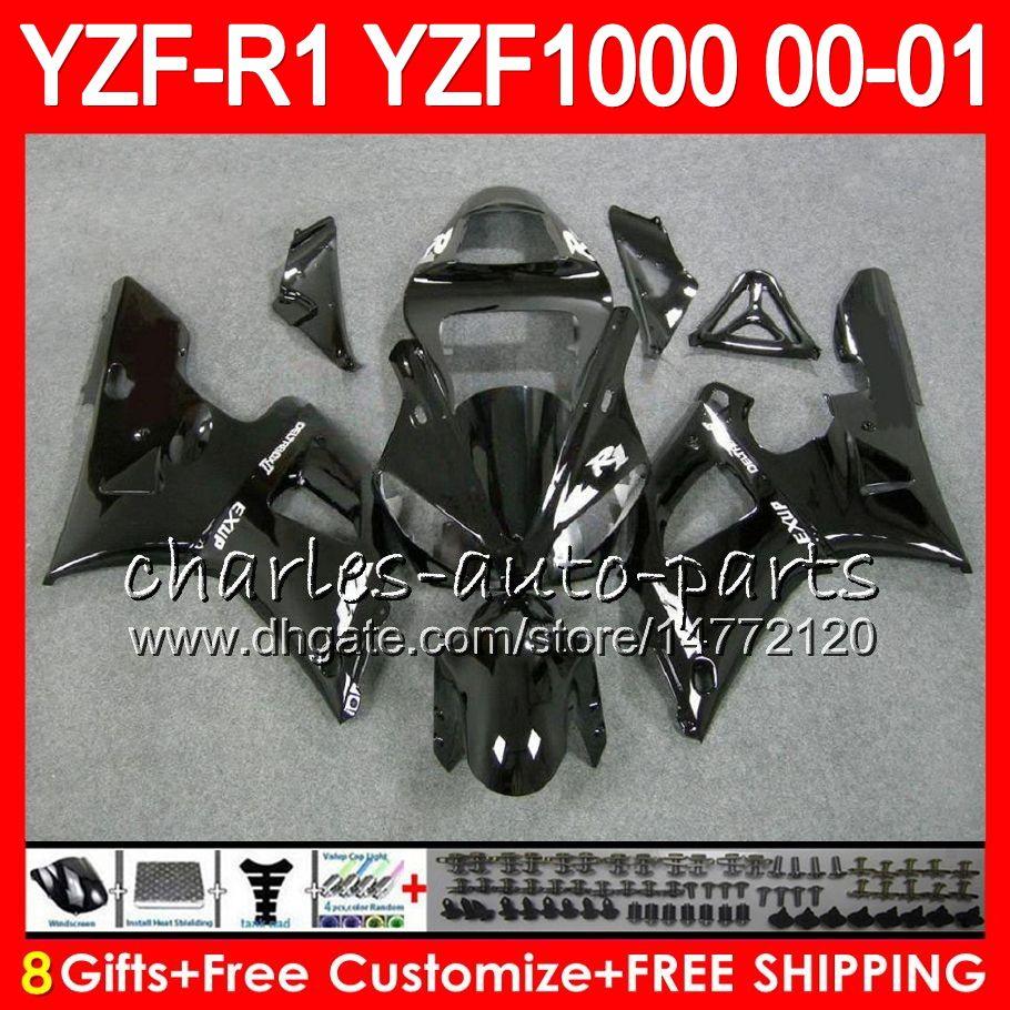 Nadwozie dla Yamaha YZF1000 YZFR1 00 01 98 99 YZF-R1000 Ciało 74HM1 Błyszczący Balck YZF 1000 R 1 YZF-R1 YZF R1 2000 2001 1998 1999 Zestaw targowy
