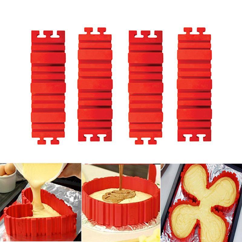 4 Pcs/set Silicone bakeware Magic Snake cake mold DIY Baking square rectangular Heart Shape Round cake mould pastry tools