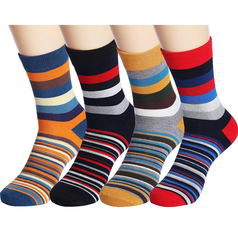 Mężczyźni Zabawa Kolorowe Stripe Bawełniane Kostki Casual Crew Skarpety Vintage Styl Funny Sport Crew Sock, Duży