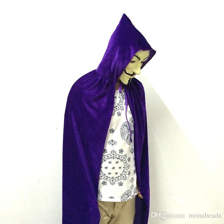 Yetişkin Cadılar Bayramı Pelerin 2018 Sıcak Satmak Cosplay Maskeli Kostüm Cadı Pelerin Vampir Pelerin 170 cm Renkli Opsiyonel