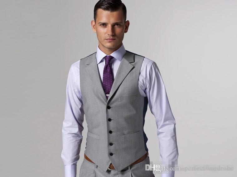 Groom Tuxedos Groomsmen Custom Made Light Grey Side Vent Slim Fit ...