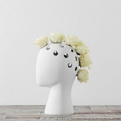 Criativo cabeça humana branco preto decorativo vaso de cerâmica bastract sem flor casa modelo quarto decoração ornamentos Vaso 10