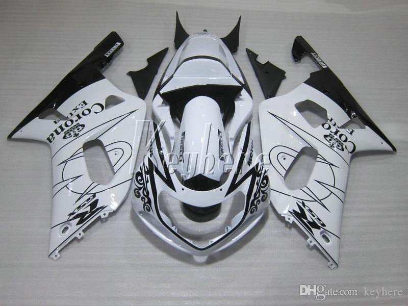 Kit de carénage moto pour Suzuki GSXR600 01 02 03 kit de carénage noir blanc GSXR750 2001 2002 2003 IY02