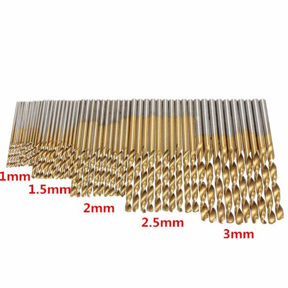 50pcs HSS Drills Titanium Coated HSS Twist Drill Bits HSS Drill Bits Hand Tools 1/1.5/2/2.5/3mm