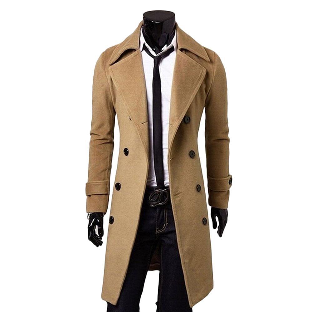 الجملة -2016 جديد وصول الرجال الشتاء مزدوجة الصدر خندق معطف الرجال خندق معطف سليم لياقة معاطف رجل معطف طويل M-3xl 3 اللون