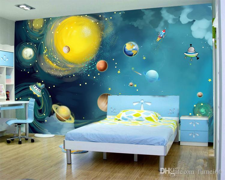 Großhandel 3D Malerei Universum Druck Wandbild Fototapete Kinder  Schlafzimmer Karton Wand Papier Papel De Parede Infantil Papel De Parede 3d  Von ...