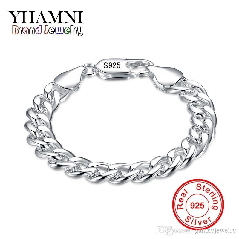 Yhamni Brand Belle Gioielli 100% 925 Sterling Silver Bracciale Braccialetto per uomo Classico Braccialetto di fascino S925 Bracciale da uomo stampato H151