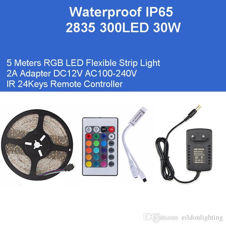 DC12V 5M RGB гибкая лента 2835SMD 300LED 30W Kit светодиодные лампы адаптер ИК-пульт дистанционного управления IP65 одноцветные Красный Зеленый Синий Водонепроницаемый лампы
