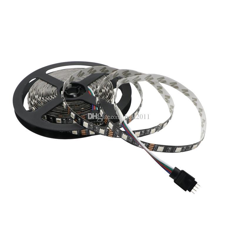 LED Strip 5050 Not Waterproof Black PCB RGB DC12V 60LEDs/m 5m/lot Flexible LED Light RGB 5050 LED Tape Home Decoration Lamps