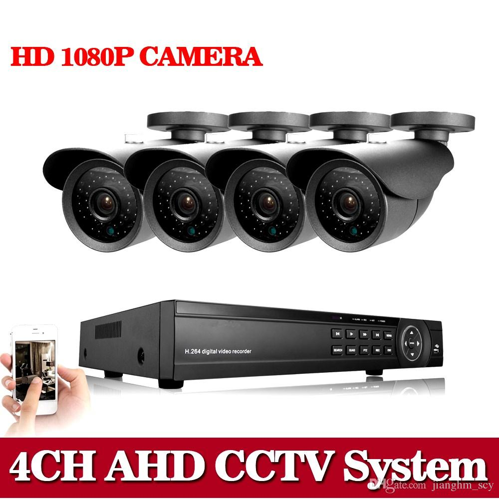 4CH CCTV 5-in-1 DVR 4x 720P Outdoor IR-CUT Camera Security System Video Monitor