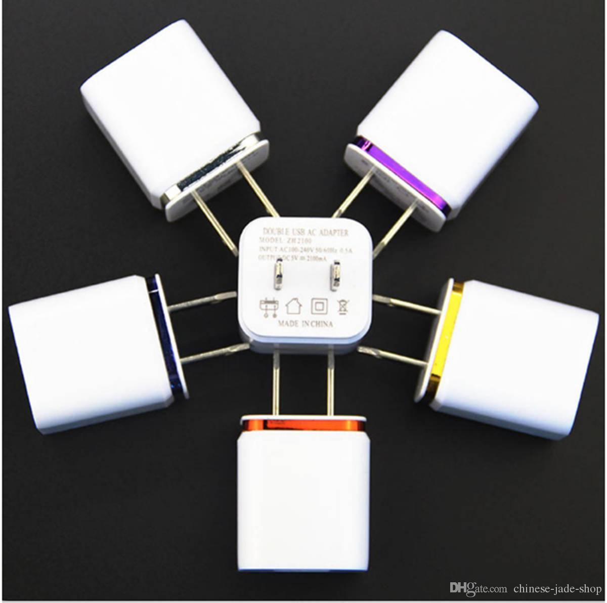 US Plug Metal Dual USB Wall Chargers AC Adapter 5 V 2.1A voor Smart Phone Pad 5 Color 100pcs / lot