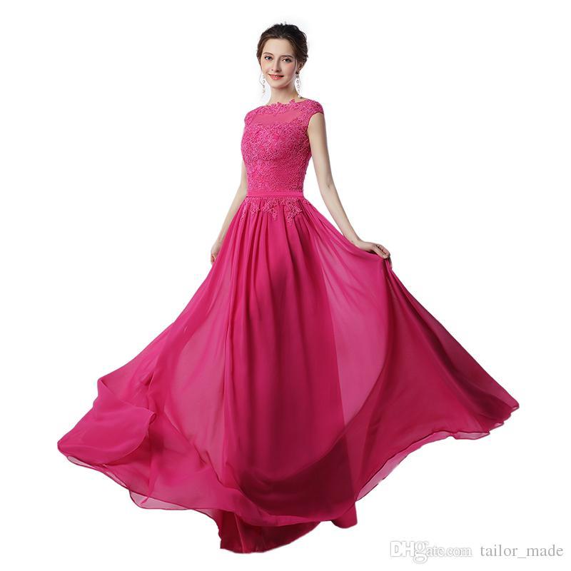 Abito da sera lungo Vestido Festa Longo Noite Casamento Abito da ballo in chiffon rosa caldo Abiti da sera economici Made in China