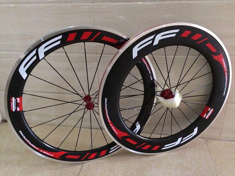 FFWD bisiklet karbon jantlar 60mm + 88mm bisiklet karbon jantlar 3 k parlak kattığı 700C 23mm V fren seramik rulman hub çin bisiklet tekerlekleri
