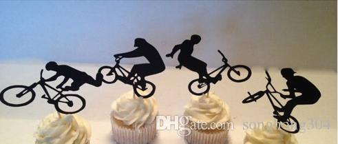 Custom BMX Bicycle Silhouette cupcake toppers Bachelorette Hem night music Party Supplies wedding birthday baby shower Party Decoration