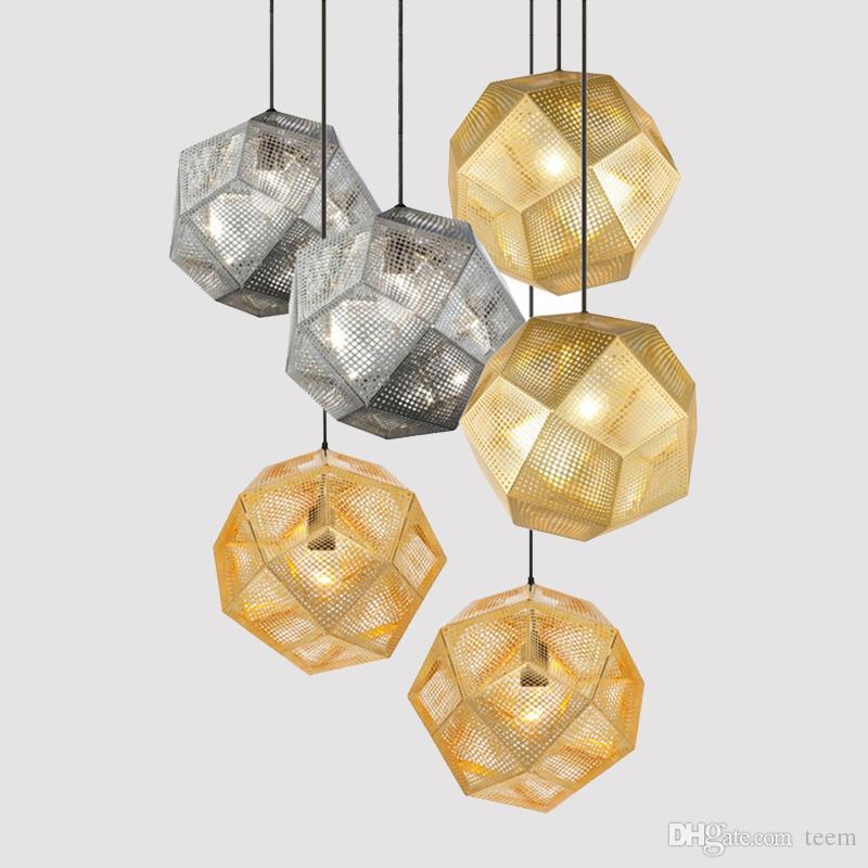 O pendente industrial moderno ilumina lâmpadas do pendente do hotel / restaurante / barra Ouro / prata Iluminação de aço inoxidável da rede da geometria da arte